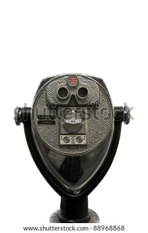 coin operated binoculars on white background - stock photo