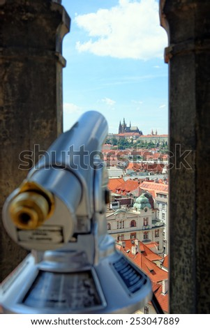 Coin operated spyglass on the City hall tower, Prague, Chech republic - stock photo