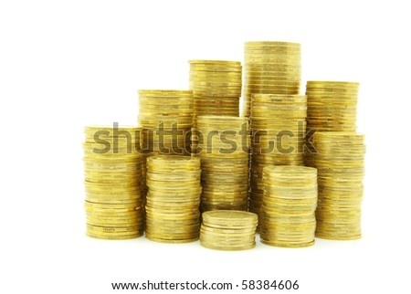 Coin pile isolated on white background - stock photo