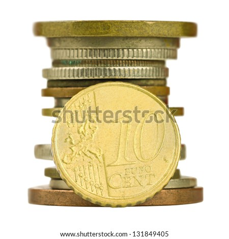 Coin pile with ten cent euro isolated on white background - stock photo