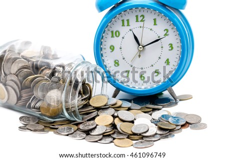 coin saving and time clock concept