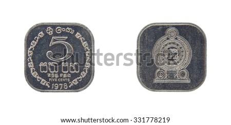 Coin Sri Lanka 5 cents Ceylon - stock photo