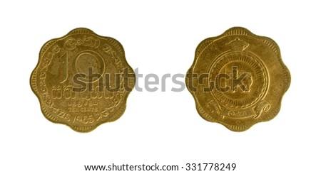 Coin Sri Lanka 10 cents Ceylon - stock photo