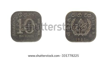 Coin Sri Lanka 10 rupees Ceylon - stock photo