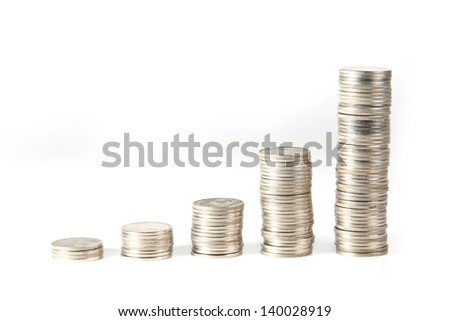 coin stack on white background - stock photo
