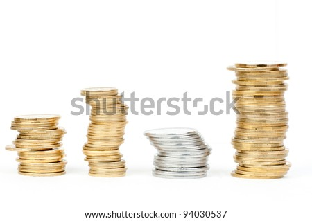 coin stacks isolated on white