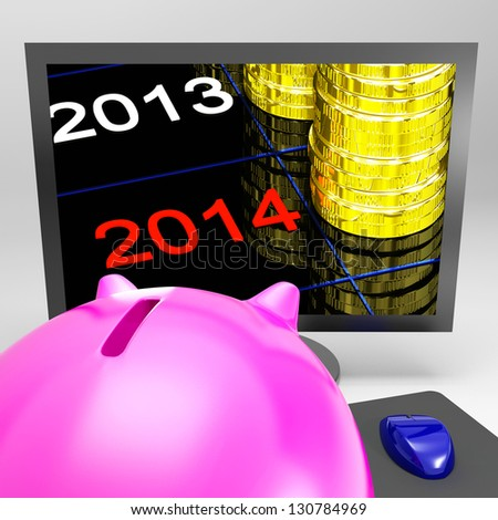Coin Stacks Showing Profit In 2013 Versus 2014 - stock photo