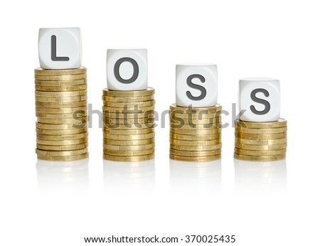 Coin stacks with letter dice - Loss - stock photo
