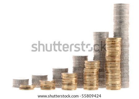 Coin stairs representing growth isolated on white background - stock photo