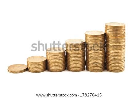 coin steps on white background - stock photo