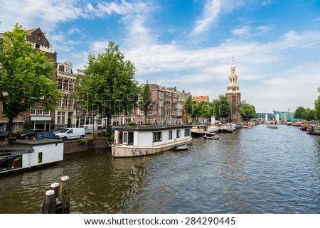 Coin Tower (Munttoren) in Amsterdam in a summer day - stock photo