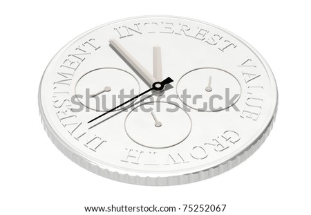 Coin with a Clock, showing investment, interest, growth, value - stock photo