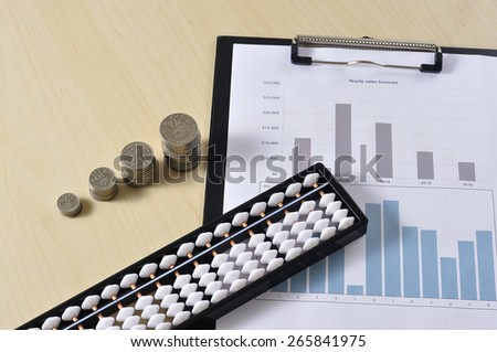Coin With Abacus and Yearly Graph on Wooden Table, Selective Focus - stock photo