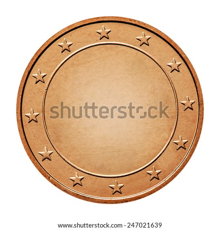 coin with stars around isolated on a white background - stock photo