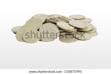 coinage of the Soviet Union 20 kopeks, on a white background - stock photo