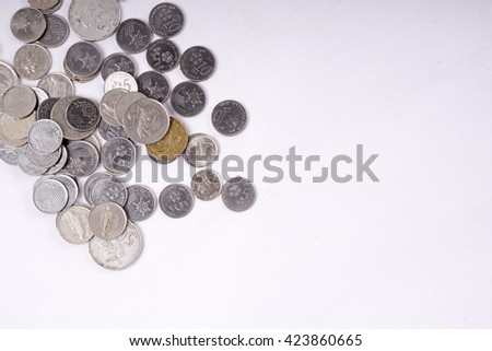 Coins. Abstract Business Financial Background.DOF and copy space