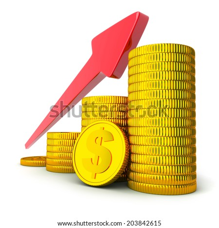 coins and arrow up (done in 3d, white background)  - stock photo