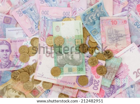 Coins and banknotes - stock photo