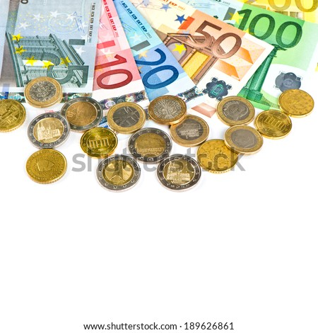 coins and banknotes. euro currency. money background with white space for your text - stock photo