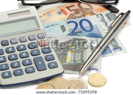 Coins and cash with pen along with glasses and pocket calculator on a white background - stock photo