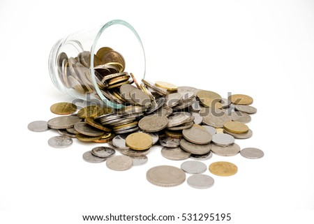 coins and glass containers on a white background
