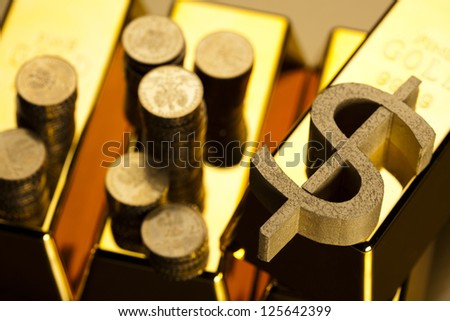 Coins and gold bars,Finance Concept - stock photo
