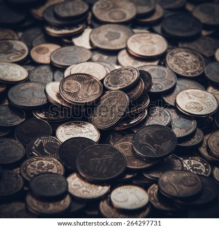 Coins background. euro coins. cent coins. euro cents - stock photo