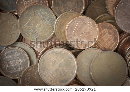 Coins background euro coins cent coins euro cents - stock photo