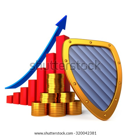 Coins chart and shield, business stability concept - stock photo