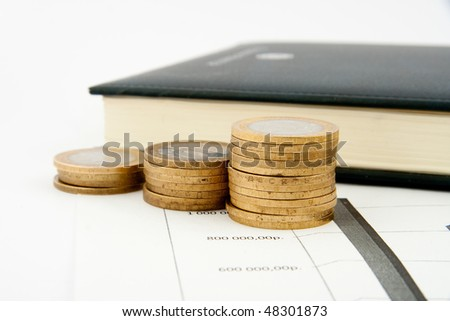 Coins chart  isolated on white background - stock photo