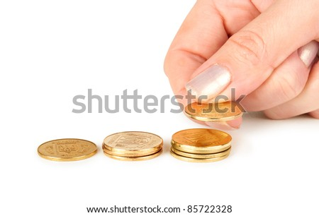coins diagram and hand add coin