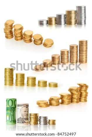 coins diagram collection - stock photo