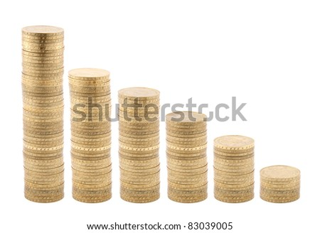 Coins diagram isolated on white - stock photo