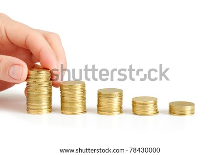 coins diagram with hand
