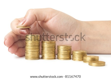 coins diagram with hand isolated on white - stock photo