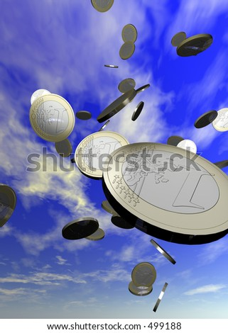Coins falling from the sky. Contains a clipping path for easy cut outs. - stock photo
