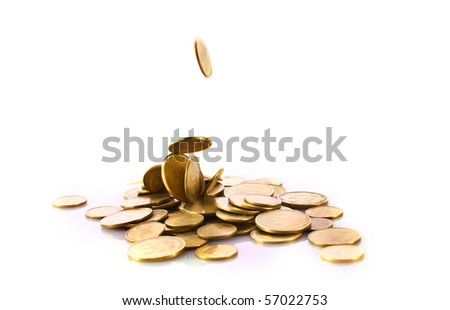 Coins falling isolated on white