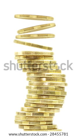 coins falling onto stack - stock photo