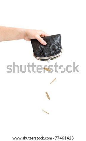 coins falling out of purse in hand isolated on white - stock photo