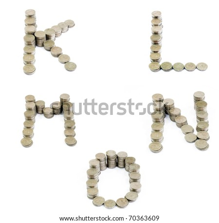 Coins font;  K, L, M, N, O - stock photo