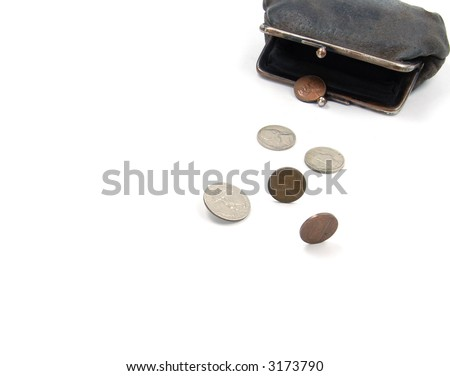 coins from old suede wallet - stock photo