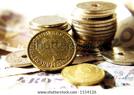 Coins from scandinavian countries - stock photo