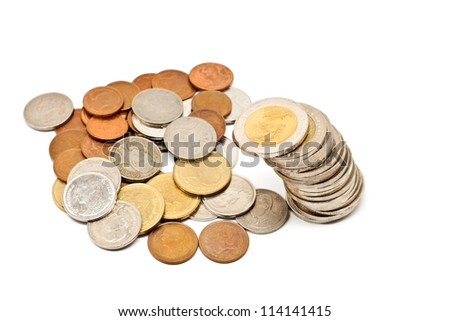 Coins from thailand.  Drop spreading on a white background.