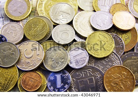 Coins from the different countries. Travel. - stock photo