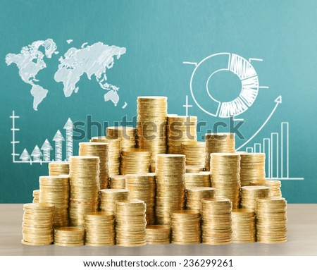 Coins graph stock market  - stock photo