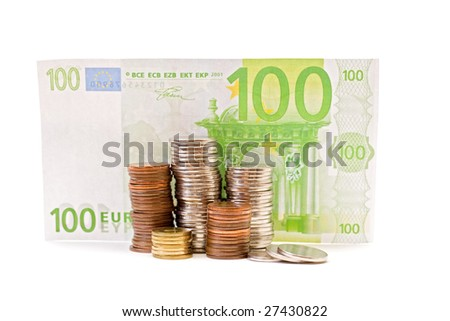 Coins having as background 100 euro.