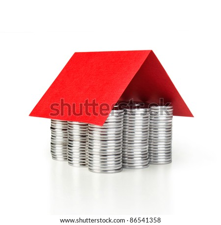 coins house mortgage concept - stock photo
