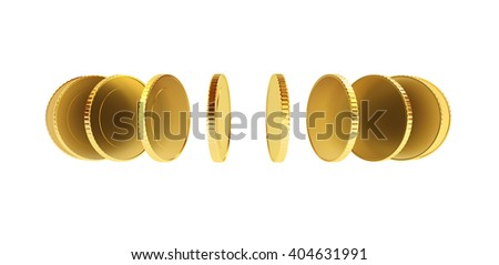 Coins in a circle isolated on white, money turnover concept 3D illustration.