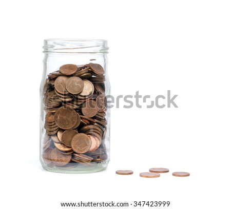 Coins in a glass jar. Saving money for you - stock photo