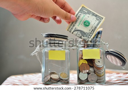 coins in a jar.